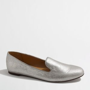 J. Crew Silver Metallic Loafers Size-7